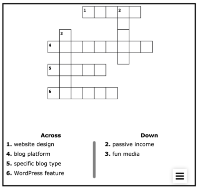 Blogwarts Academy Crossword Puzzle